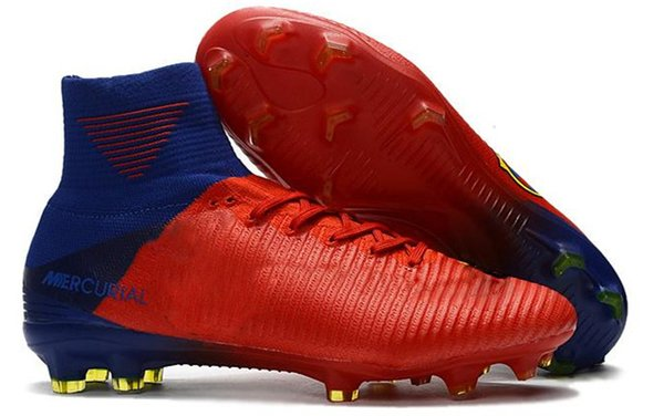 .White Red Rainbow 100% Original Soccer Shoes Mercurial Superfly V FG Soccer Cleats High Ankle Football Boots Ronaldo Sports Sneakers