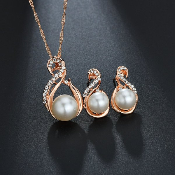 noble elegant sexy clavicle chain pearl ball water drop pendant Necklace Earring Jewelry Set women Wedding Jewelry