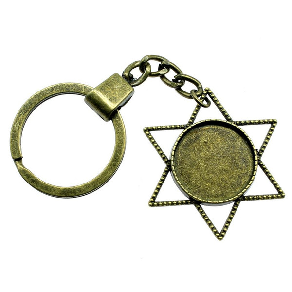 6 Pieces Key Chain Women Key Rings Couple Keychain For Keys Star Single Side Inner Size 20mm Round Cabochon Cameo Base Tray Bezel Blank