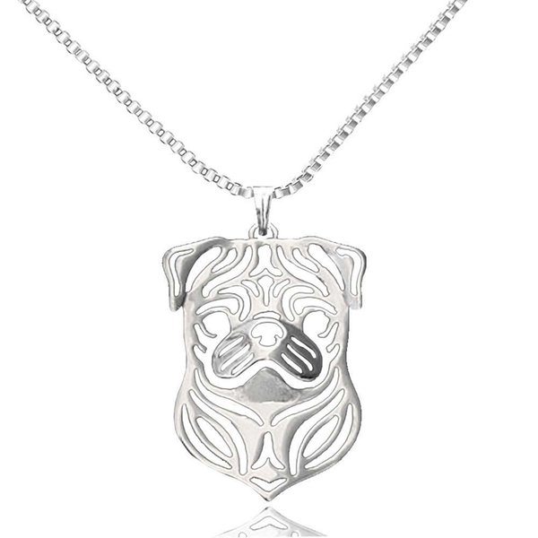 Wholesale-Pug Pendant Animal Dog Necklaces Silver Plated Chain Charm Pet Lovers Dog Jewelry Christmas Gifts For Women Girls Friends