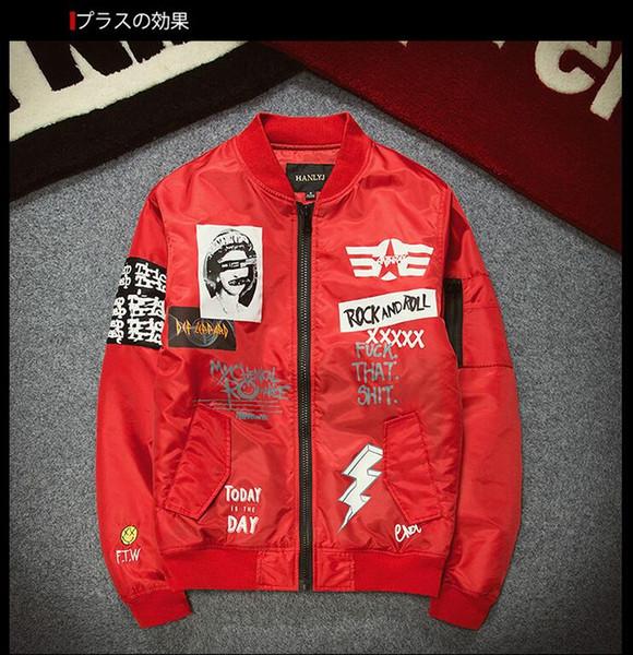 New jacket original tide card ROCK cartoon printing baseball clothing patch MA1 flight jacket men clothing