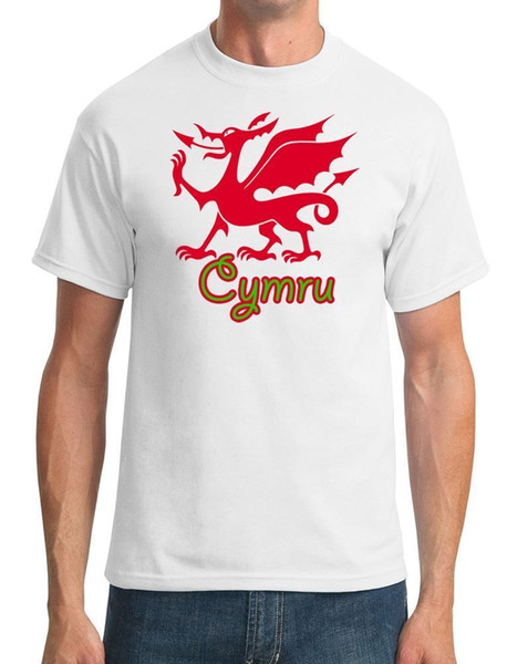Nova Moda Masculina Camiseta Feminina Welsh Dragão Cymru Mens T-Shirt