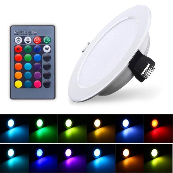 Freies Verschiffen RGB führte hinunter Lichter 3W 5W 10W geführte Instrumententafel-Beleuchtung Downlight Wechselstrom 85-265V geführte Innendecke vertiefte Lichter