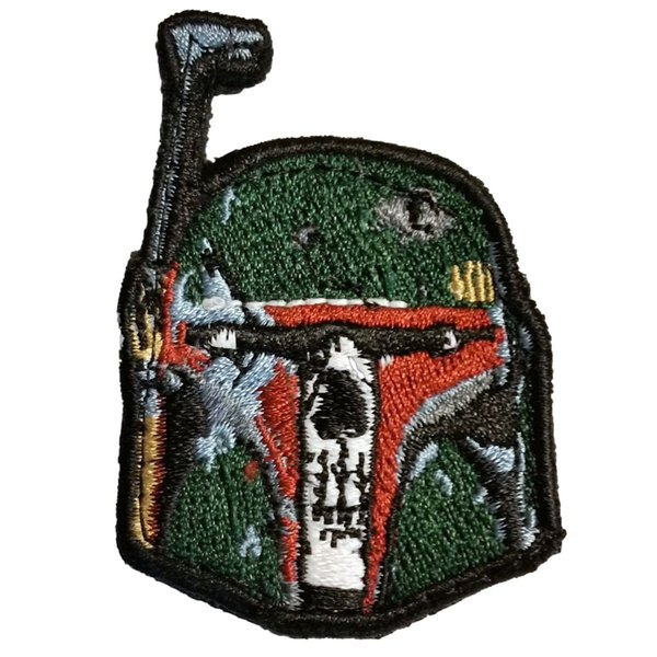 Boba Fett Skull Patch Embroidered Motorcycle Applique Badge Embroidery Patch Biker Punk Parch on Clothing for Jacket Backpack