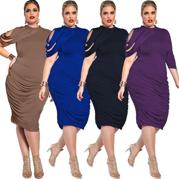 Tamaño grande L-5XL Vestidos de mujer Formal plisado 3/4 mangas de la envoltura elegante vestido de fiesta Longitud de la rodilla 2018 Venta caliente 4 colores de alta calidad