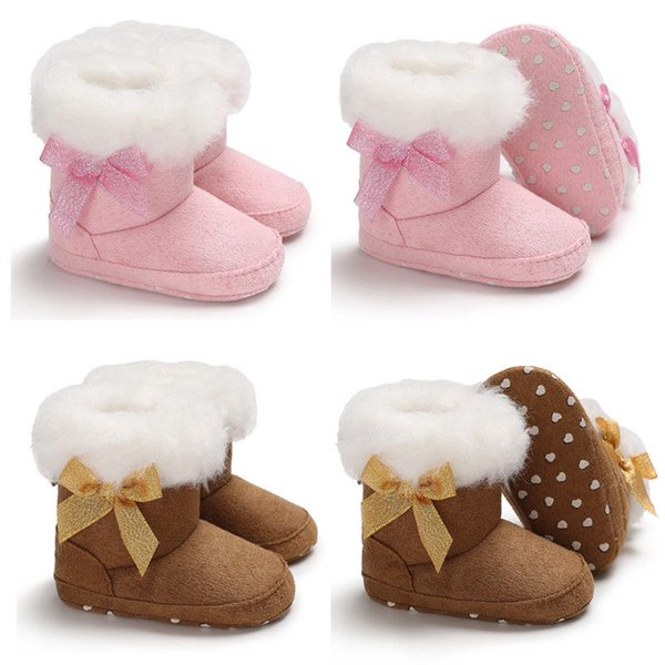 2018 Newly Winter Toddler Baby Girl Boy Botas calientes Botines de nieve Zapatillas de piel sólida Slip-On Bow plana con zapatos de algodón de tacón 0-18M