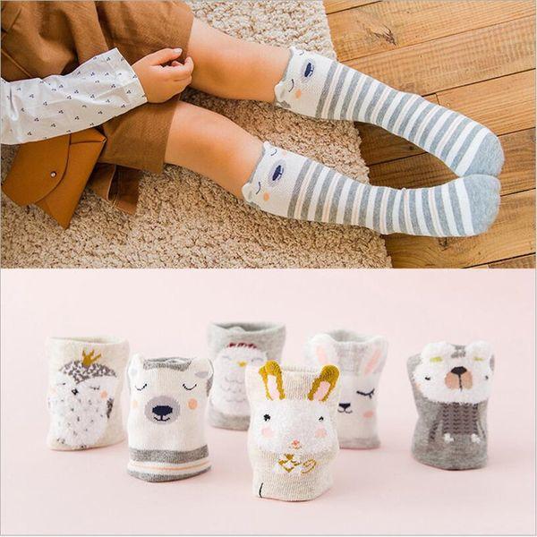Cartoon Cute Children Socks Print Animal Cotton Baby Kids Socks Knee High Long bunny For Toddler boy/girls leg warmer