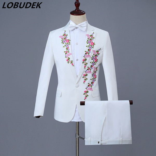 New White Choral Dress Plum blossom Embroidery Men's Suits Prom Festival Gala Host Singer Chorus Costumes Adult Male Wedding Stage Wears
