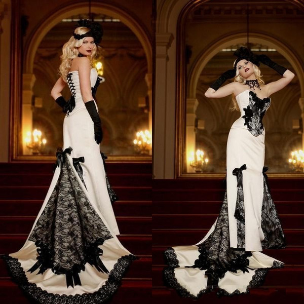 Vintage 2019 Black White Victorian Lace Wedding Dresses Bridal Gowns Cheap Gothic Sweetheart Stain Bow Lace Up Back Custom Made Simple Gowns