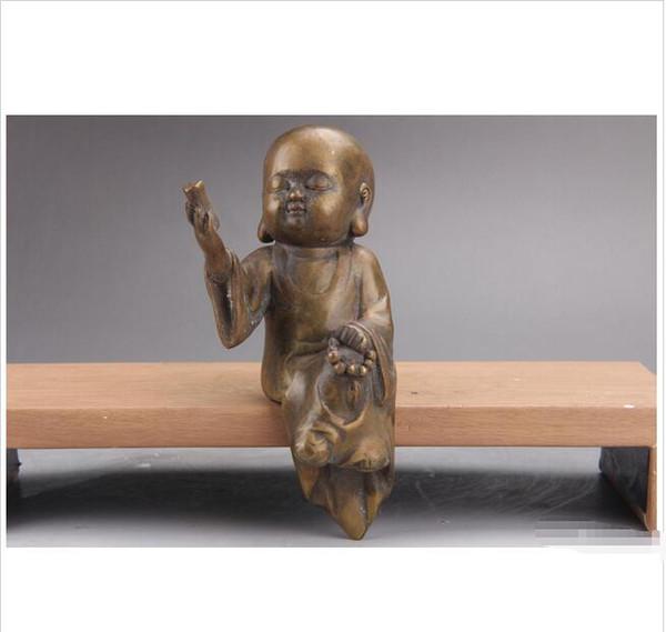 Atacado - requintado mão chinesa esculpida latão pequeno monge estátua as157.
