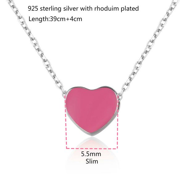 829b9cda10c88 Wholesale Slim Tiny Cute Small Pink Heart Charm Pendant 925 Sterling Silver  Short Cross Chain Choker Necklace Women Girls Jewelry Bijoux Family ...
