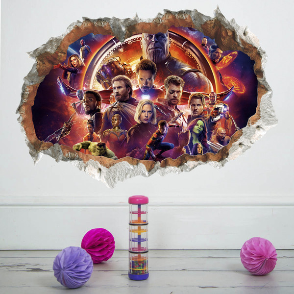 Cartoon 3D Stickers Avengers Wall Stickers PVC Wallpapers Self-adhesive Waterproof Arts Murals Can Be Removable Boy Bedroom Background Decor