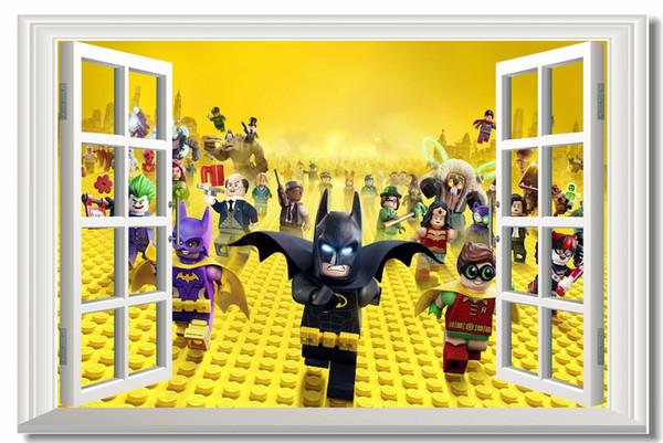 Compre Custom Canvas Wall Decals Ventana The Lego Batman Movie Poster Lego Etiqueta De La Pared Mural Batman Wallpaper Kid Decoración Del Hogar 0187