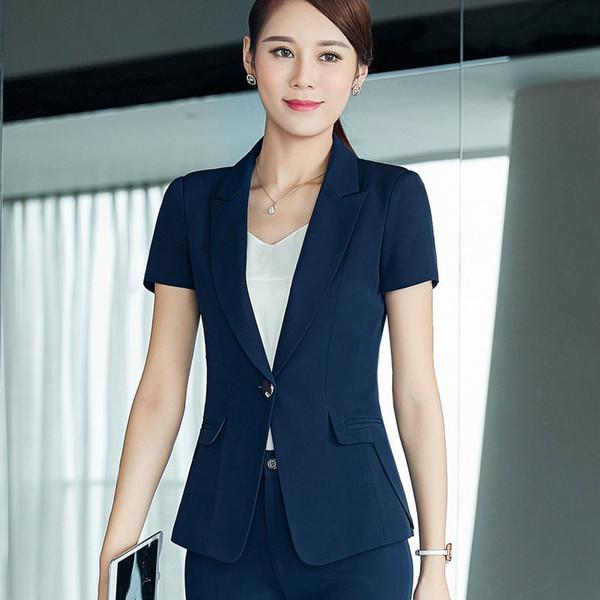 2017 New Arrival Summer Women Slim Short Sleeve Blazer Work Office Lady Business Outwear Casual Notched Pockets Coat Jacket