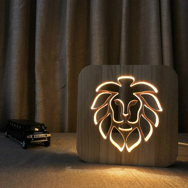 leone LED 3D nightLight Lampada in legno Nightlight USB Power Casa Camera da letto Tavolo scrivania Decorazione lampada Legno 3D Carving Pattern LED NightLight