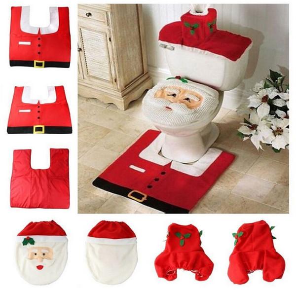 Decoración de navidad juego de inodoro Decoración de baño Cubierta de asiento de inodoro Alces de navidad Muñeco de nieve duende Papá Noel decoración