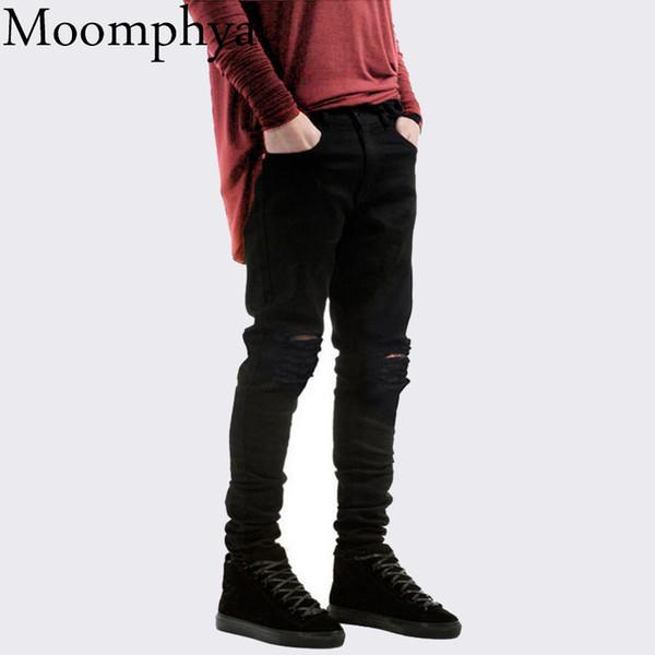 2017 New Black Ripped Jeans Men With Holes Denim Super Skinny Famous Designer Brand Slim Fit Jean Pants Scratched Biker Jeans S913