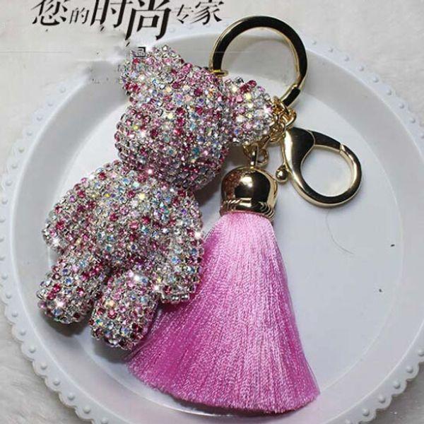 Luxury Cute Bling Full Rhinestones Gy Bear Keychain Car Key Chain Ring Pendant For Bag Charm Hotsale Gifts