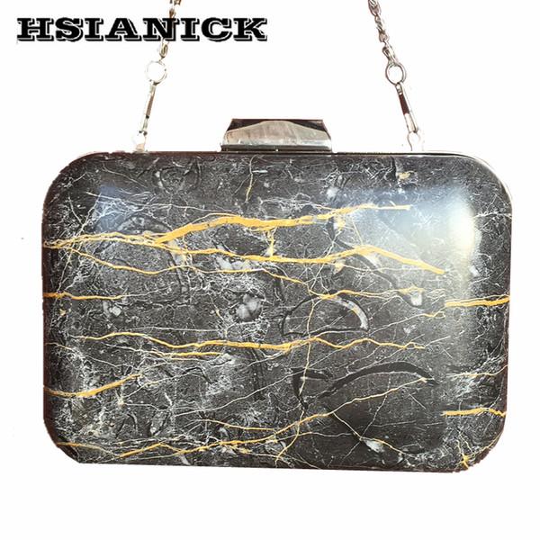 2017 New Fashion PU Bolsa Feminina Stone Marble Pattern Design Women Black Square Box Clutch Party Bag Evening Bag Chain Handbag