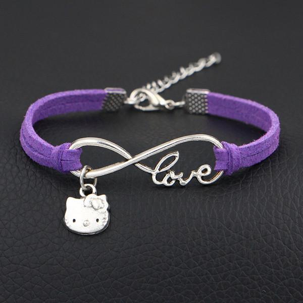 AFSHOR 2018 New Arrivals Designer Items Handmade Zinc Alloy Infinity Love Cat Pendant Purple Leather Bracelet Bangle For Women Men Kids Gift
