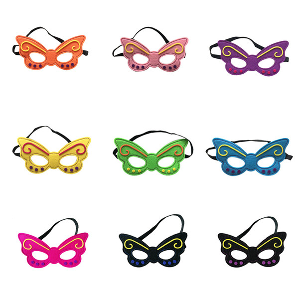 INS HOT SALE Retail Halloween Gifts Kids Superman Mask Butterfly Bee Design Kids Party Mask Cosplay Costume Mask mix 17colors 9*18cm HD4