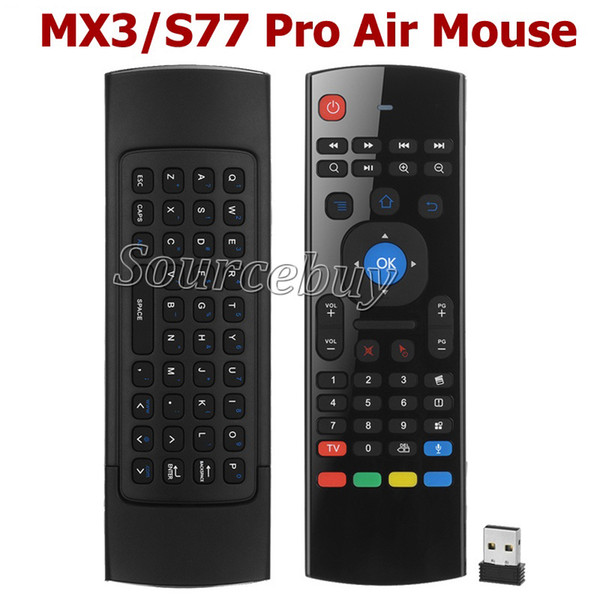 MX3 / S77 pro RF Teclado Sem Fio com MICROFONE Controlador de Voz Air Mouse Controle Remoto para Smart Box TV Android mini PC Projetor HTPC