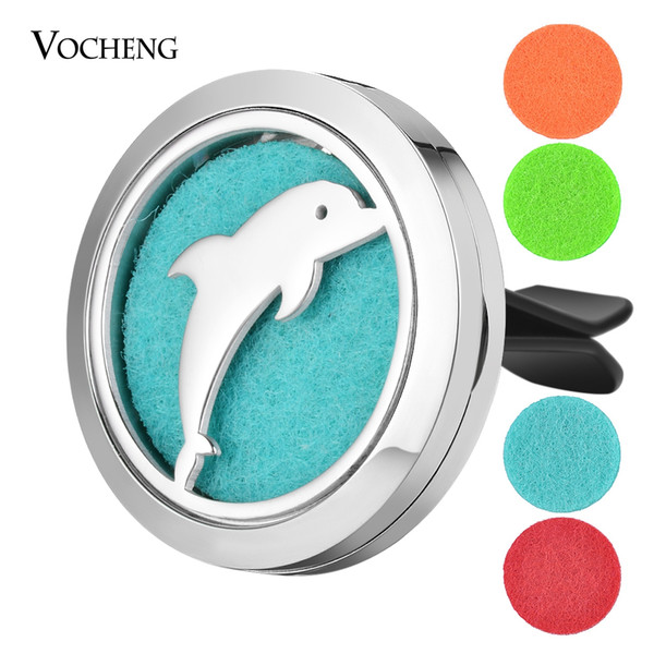 best selling Car Air Freshener Perfume Essential Oil Locket Clip Dolphin Stainless Steel Pendant Magnetic without Felt Pads VA-818