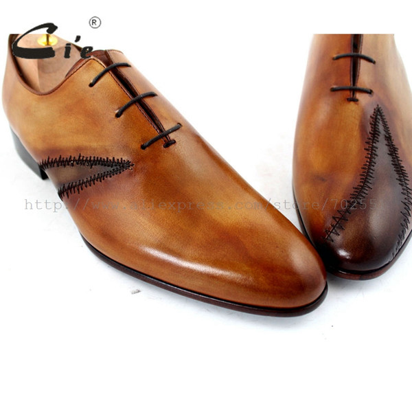 Cie Ücretsiz Kargo Özel Ismarlama El Yapımı Hakiki Dana Deri erkek Oxford Yama Bağcık Ayakkabı Renk Kahverengi No. OX195 Mackay Zanaat