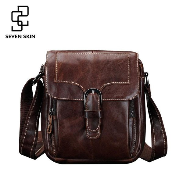 Famous Brand Men Fashion Design Messenger Bag Male Genuine Leather Shoulder Bag High Quality Small Style Vintage Travel Flap