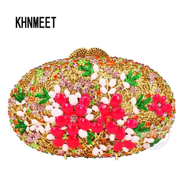 Oval Goldene Tropfen Öl Blume Clutch Abendtasche Damen Luxus Kristall Diamant Diamante Designer Abendtasche Handtaschen SC520