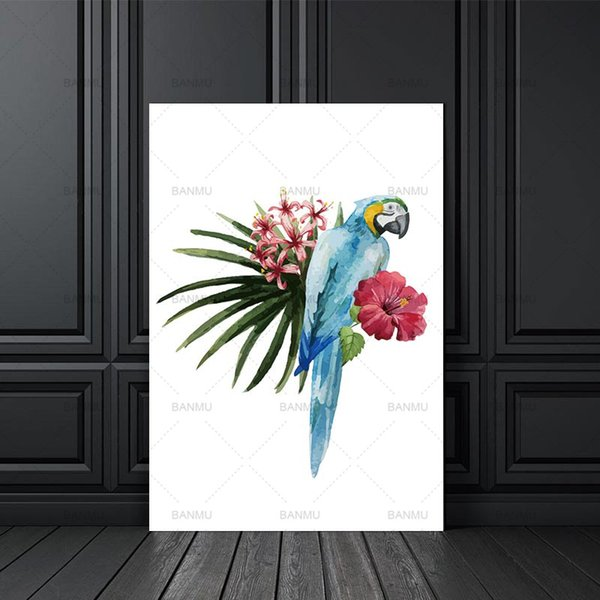 canvas painting wall art Modern Nordic Bird Flower Prints Poster Cartoon Wall Pictures Canvas Painting No Framed Kids Room Decor