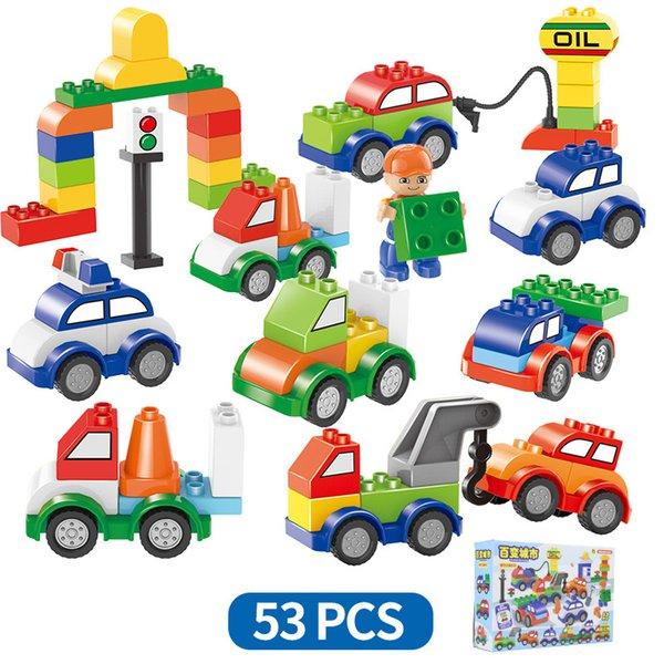 53 unids / set Bloques de construcción de plástico digital tren coche niños juguetes de juguete para niños Coches ladrillos Inteligencia Educativa Seguro Ambiental AAA1272
