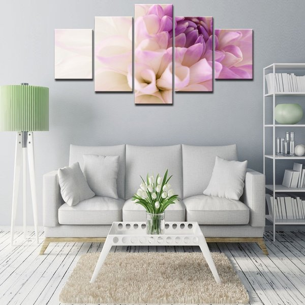 2017 Wall Art Oil Painting Unframed 5 Pieces abstract impression Purple flowers Painting Room Decoration Print Picture Canvas