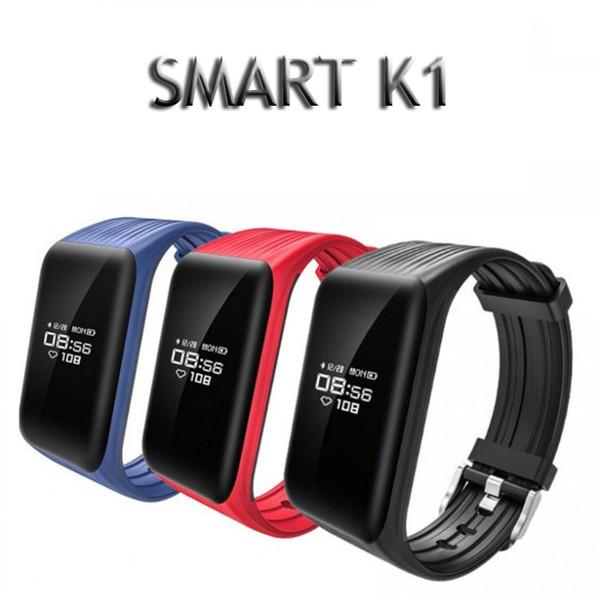 K1 Fitness Tracker Bandes de montre IP67 Activité étanche Moniteur de fréquence cardiaque continue Step Sleep Compteur Bracelet intelligent sans fil Bracelets