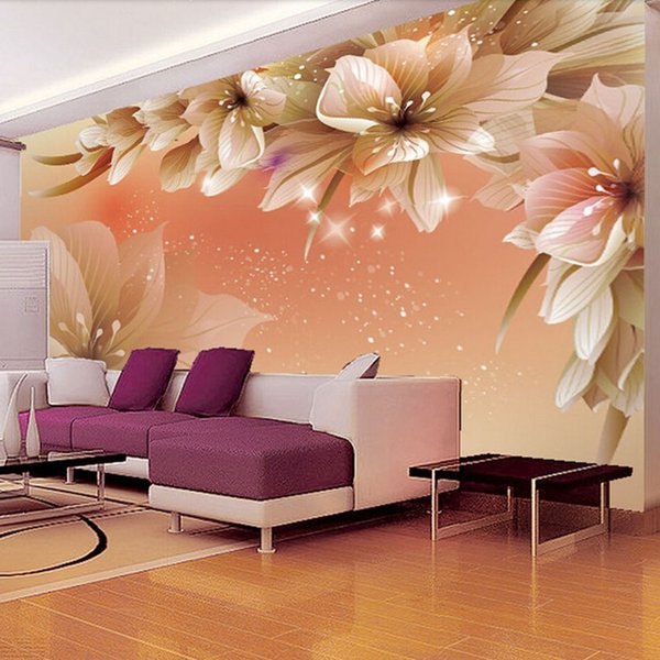 Custom 3D Photo Wallpaper Modern Flower Wall Mural Wall Paper Living Room Sofa TV Background Non-woven Fabric Wallpaper Bedroom