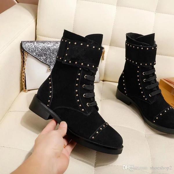 Moda Novas Mulheres Cavaleiro Botas Sapatos de Cowboy Ankle Boots de Couro Genuíno Designer de Fivela de Inverno Sapatos de Inverno Preto SZ35-41