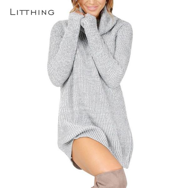a832cdf9a40 LITTHING Women Winter Dress 2018 Knitted Dress Turtleneck Long Sleeve Slim  Loose Dress Sweaters Pullovers Plus