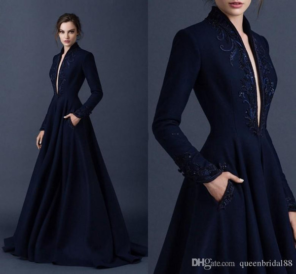 Elegant Unique Paolo Sebastian Formal Evening Dresses with Pockets Plunging  Neckline Sexy Long Sleeves Celebrity Prom Formal Party Dresses bc5d9fe19