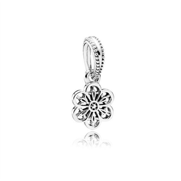 Promotion Complicated Design Flower Alloy Charm Dangle For Pandora Bracelet Snake Chain Or Necklace Fashion Jewelry Loose Bead