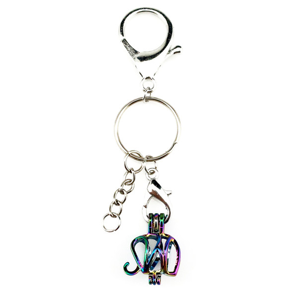 Key Chains Keychain Silver Plated Key Ring Clasp with Elephant Beads Cage Locket Y102 Fun Gift