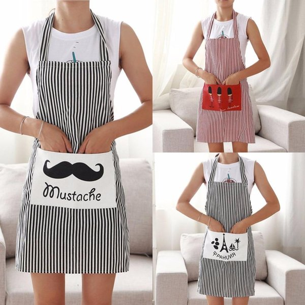 Fashion Stripe Linen Apron with Pockets Cafe Waiter Kitchen Cook Household Cleaning Tool Thick Anti-Oil Kitchen Apron