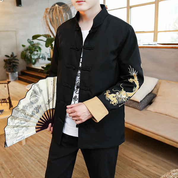 Men's sets retro large size Tang suit jacket Pants mens button buckle jacket Chinese tunic suit dragon embroidery Hanfu autumn