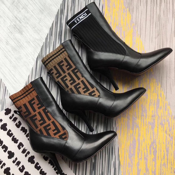 Fashion luxury women Half Boots Sexy Knitted socks ankle boots Stiletto Heel brand Temperament boots Suitable for autumn and winter