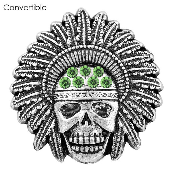Rivca skull inserts convertible Metal alloy silver gold magnetic Brooch For men fit antique Scarf Clip Vintage Muslim pin Brooches for party
