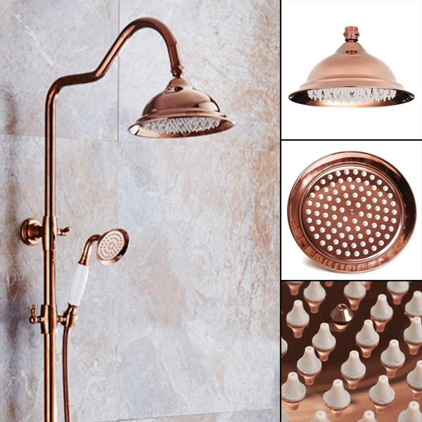 New 8 inch Antique Vintage Red Copper Rose Gold Round Bathroom Rain Shower Head Home Bathroom Product