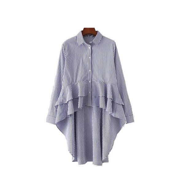 Frauen hoch niedrig Gestreifte Tunika Bluse Tiered gekräuselten Peplum Shirt Langarm Langarm-Shirts Asymmetrische Top Blusas Camisas