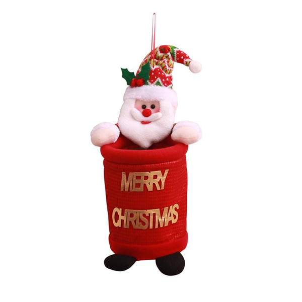 Christmas Trash Cans Cute Creative Hanging Cartoon Storage Bags Gift Xmas Tree Decor For Mall Festival Home