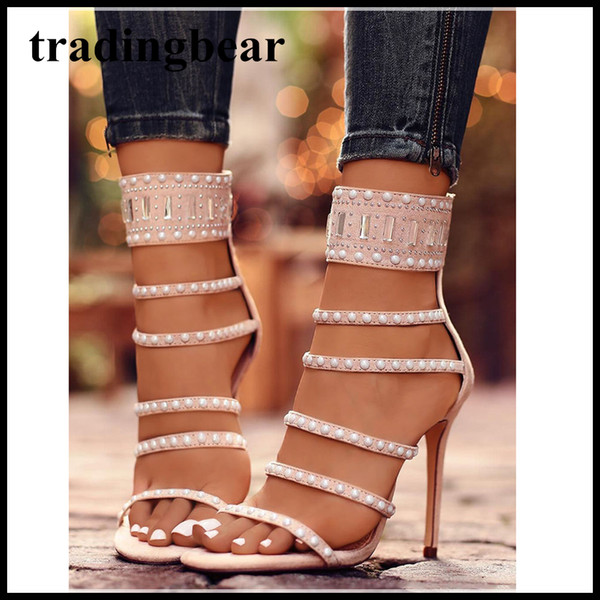 c83de7f7881 Sexy Black Beaded Rhinestone Open Toe Single Sole High Heels Ladies Party  Club Shoes Size 35 To 40 Shoes Online Basketball Shoes From Tradingbear, ...