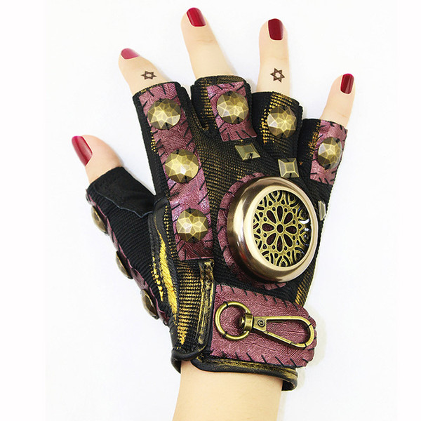 Corzzet Punk Rock Pink Leather&Rivets Studded Half Finger Gothic Vintage Gloves Acceossories Cosplay Costume Party