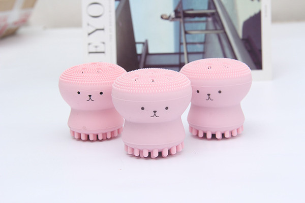 Cute Jellyfish Wash Brush Exfoliating Face Cleaner Massage Soft Silicone Facial Brush Scruber Deep Pore Cleaning Brush new